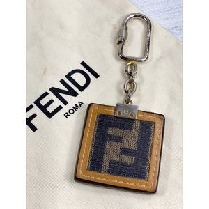 Fendi FF Logo Pequin Bag Charm/Keychain